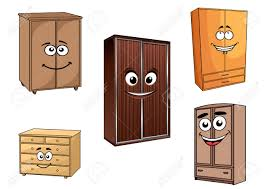 wooden bedroom cupboards set in cartoon style with cheerful faces