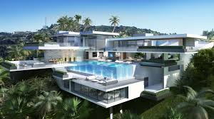 interior two modern mansions with swimming pool and garage area