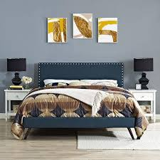 Fabric Platform Bed Lyka King Fabric Platform Bed With Splayed Legs Emfurn
