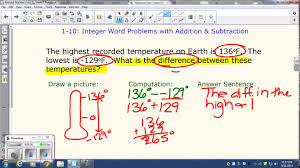 integer word problems with addition u0026 subtraction youtube