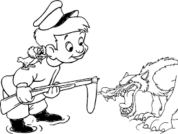 angry wolf and peter coloring page wecoloringpage