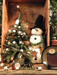 large handmade primitive snowman doll lighted winter tree wood box