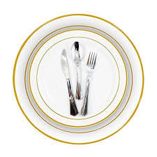 wedding silverware gold bulk dinner wedding disposable plastic plates silverware