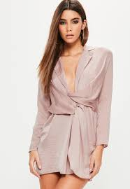 plunge dress purple satin wrap plunge dress missguided