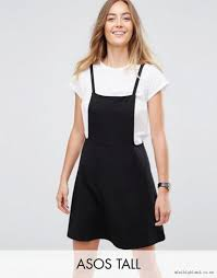 shop asos tall mini pinafore dress with strappy back gmu3co