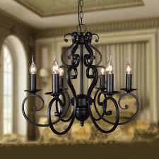 wrought iron foyer light black wrought iron modern chandelier lighting 5 6 heads e14 hotel
