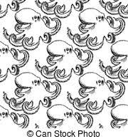 vector of octopus vintage graphic vector illustration silhouette