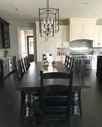 Modern Farmhouse Kitchen by Black And White Modern Farmhouse Kitchen With Long Dining Table