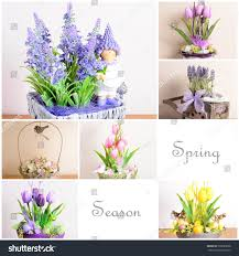 collage pictures home floral decoration on stock photo 595029608