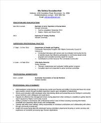Social Work Resume Example by Sample Social Worker Resume Template 9 Free Documents Download
