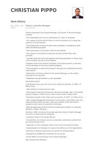 Project Manager Resume Examples by Quality Manager Resume Samples Visualcv Resume Samples Database