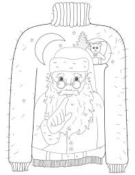 the grinch who stole christmas coloring pages whispering santa ugly christmas sweater coloring page how ugly