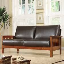 Leather And Wood Sofa Appealing Brown Chocolate Wooden Leather Mission Style Sofa Wooden