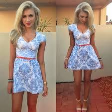 blue white design dress love the v neck and slight sleeve