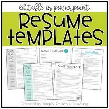 resume template editable resume templates editable by simply creative teaching tpt