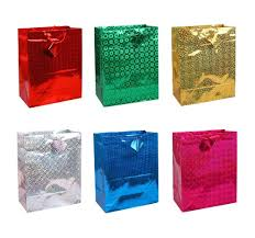 12 pack assorted colors hologram premium gift bags