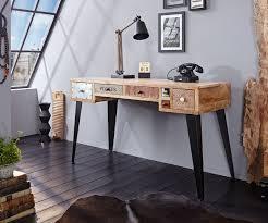 Schreibtisch Kolonialstil Schreibtisch Himalaya 130 Cm Mango Natur 6 Schübe Möbel Tische