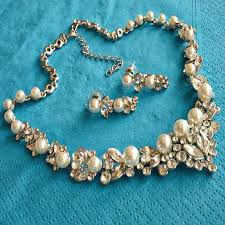 vintage wedding necklace images Pearl rhinestone bridal jewelry set wedding jewelry set pearl jpg