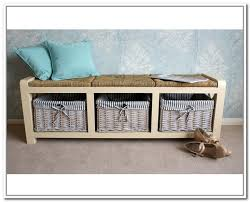 Storage Bench With Baskets Hall Storage Bench With Wicker Baskets Home Design Ideas