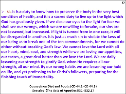 Counsels On Diets And Food The Sanctuary Of Our Ppt