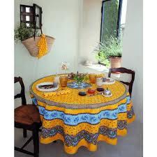 nappe en coton enduit nappe ronde coton enduit plastifié tradition jaune 1m80 achat