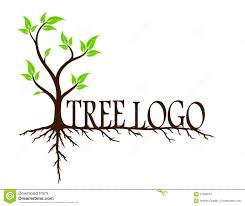 tree roots logo green tree with roots stock vector image