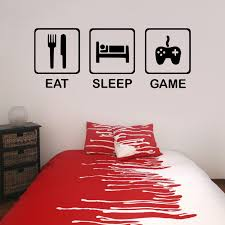 wall decals stickers home decor home furniture diy eat sleep game vinyl wall sticker decal childrens teenagers bedroom living room