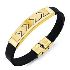 rubber bracelet with gold images Mozo fashion men bracelets gold silver stainless steel silicone jpg
