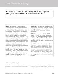 a primer on classical test theory and item response theory for