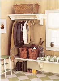 lovely small entryway bench with baskets on closet rod hanging