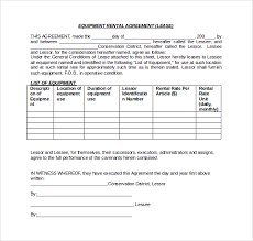 sample equipment lease agreement template equipment lease