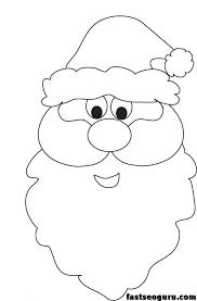 santa claus face coloring pages kids