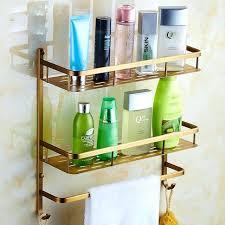 Hanging Bathroom Shelves Bar Shelves For Wall Antique Brass Tier Bathroom Shelves
