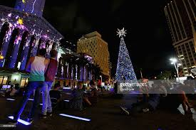 solar powered tree lights up brisbane photos and images