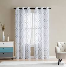 Embroidered Curtain Panels Sheer Grommet Window Curtain Panel Pair With Embroidered Geometric