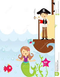 pirate and mermaid in the sea royalty free stock photo image