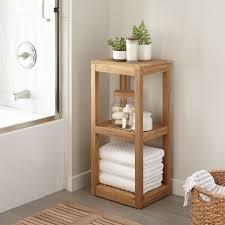 Towel Shelves For Bathroom Three Tier Teak Towel Shelf Bathroom
