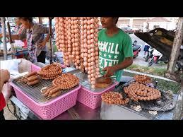 necklace pork sausage or mini pig balls bbq thai street food