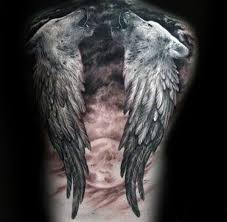 wings wolf with moon mens back tattoos chronicles of