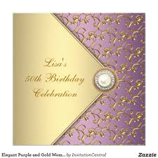 Gold Invitation Card Elegant Purple And Gold Womans 50th Birthday Party Card