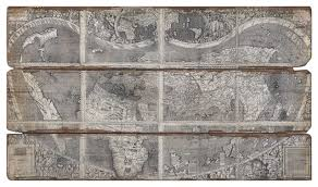Antique Wood Wall Decor Alani Industrial Loft Wood Plank Backed Antique World Map