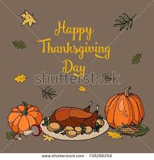 set color drawings day thanksgiving autumn stock vector 738286258