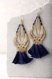 navy blue earrings boho tassel earrings gold and navy blue earrings
