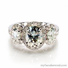 faux engagement rings moissanite three oval halo engagement ring my faux