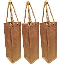 wine gift bag pack of 3 jute burlap one bottle wine tote