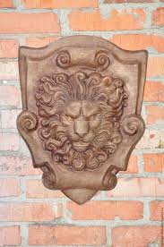 buy lion concrete bas relief no 4 on the cartouche beige leo