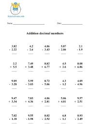 adding and subtracting decimals worksheets 6th grade free