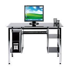 Black Computer Desk Black Glass Top Computer Desk Workstation W 2 Drawers With Regard