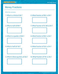 money fractions u2013 free money printable for kids u2013 math blaster