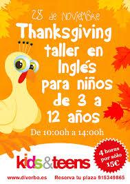 28 de noviembre taller de thanksgiving para niños diverbo